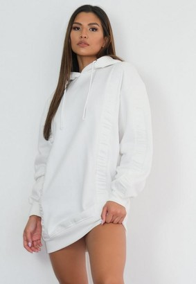 Missguided Cream Ruched Panel Hoodie Dress