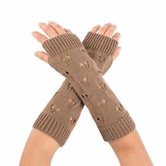 Toamen Scarf Toamen Women Girls Knit Thermal Winter Glove Magic Stretch Wrist Arm Warmer Knitted Fingerless Gloves (Khaki)