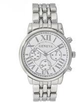 GENEVA Geneva Womens Silver-Tone Boyfriend Bracelet Watch