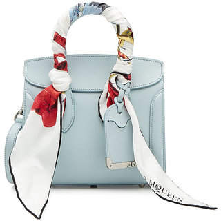 Alexander McQueen Mini Heroine 21 Leather Shoulder Bag with Silk Scarf Handles