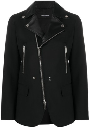 DSQUARED2 Leather Trim Fitted Zipped Jacket