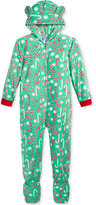 Sleep On It 1-Pc. Hooded Candy Cane-Print Footed Pajamas, Little Girls (2-6X) & Big Girls (7-16)