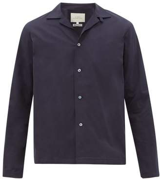 Studio Nicholson Calico Cuban-collar Cotton Shirt - Mens - Navy