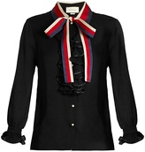 Gucci Frill-trimmed silk-georgette blouse