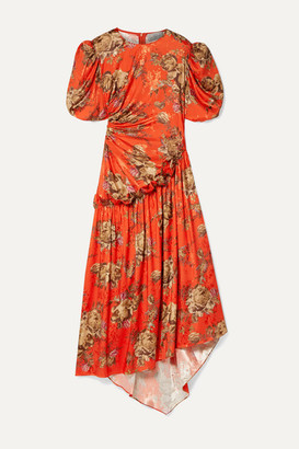 Preen by Thornton Bregazzi Ophelie Ruffled Floral-print Satin-jacquard Midi Dress - Tomato red