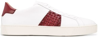 Santoni Woven-Detail Leather Trainers