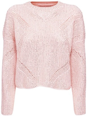 Ermanno Scervino Embellished Knit Cotton Blend Sweater