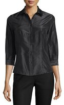 Carolina Herrera Taffeta 3/4-Sleeve Blouse, Black