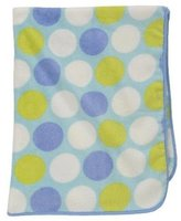Sumersault Baby Boy Blanket Blue Green White Large Polka Dots