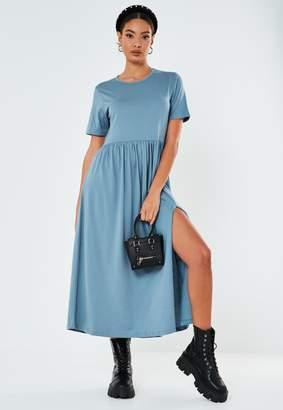 Missguided Blue Midi Jersey Smock Dress