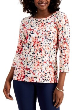 JM Collection Jacquard 3/4-Sleeve Top, Created for Macy's