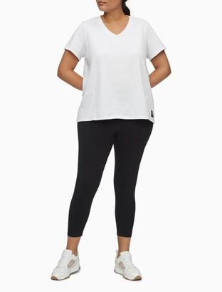 Calvin Klein Plus Size Performance V-Neck Logo Patch T-Shirt