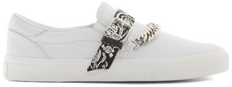 Amiri White Bandana Chain Slip-On Sneakers