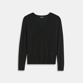 Theory V-Neck Sweater in Feather Cashmere