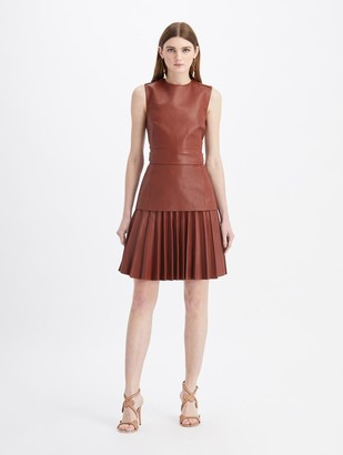 Oscar de la Renta Leather Pleated Mini Dress