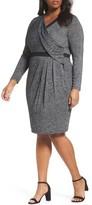Adrianna Papell Plus Size Women's Knit Faux Wrap Dress