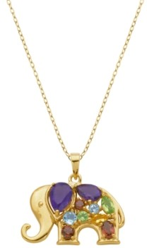 PRIME ART & JEWEL Multi-Gemstone (1-1/2 ct. t.w.) Elephant Pendant in 18k Yellow Gold Over Sterling Silver