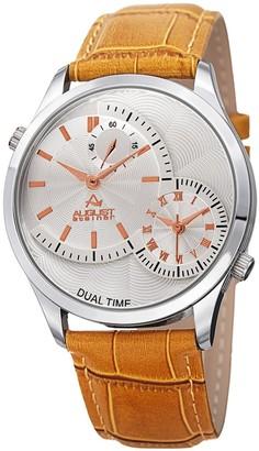 August Steiner Men's Swiss Quartz Multifunction Dual Time Tan Leather Strap Watch