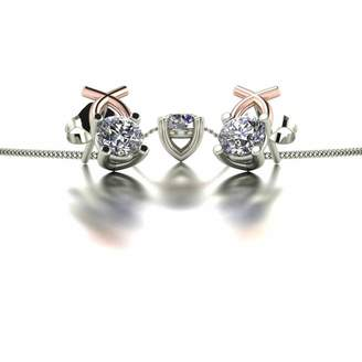 Moissanite 9ct Two-Tone Rose and White Gold 1ct Eq Solitaire Kiss Stud Earrings and Pendant Set
