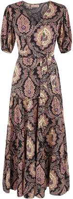 Traffic People Felicitations Paisley Print Maxi Dress In Black And Purple