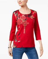 Karen Scott Studded Metallic-Print T-Shirt, Created for Macy's