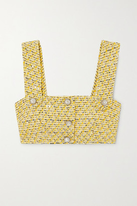 Alessandra Rich Cropped Crystal-embellished Sequined Tweed Top - Yellow