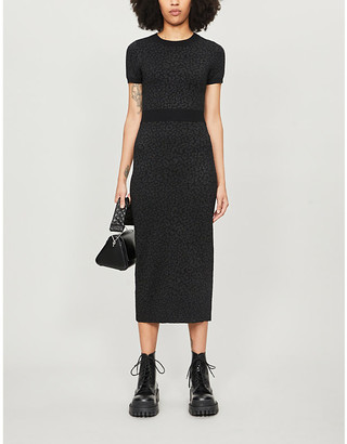 The Kooples Stretch-jersey jacquard animal-print dress