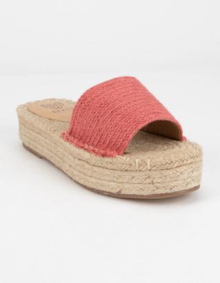 Beast Fashion Tia Pink Espadrille Flatform Sandals