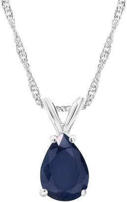 0.90 cttw Sapphire Pendant w/ Chain, Sterling Silver