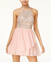 B. Darlin Juniors' Embellished Fit and Flare Dress