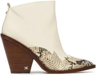 Sam Edelman Ilah Snake Effect-trimmed Leather Ankle Boots