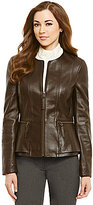 Antonio Melani Fine Leather Caroline Double Peplum Jacket