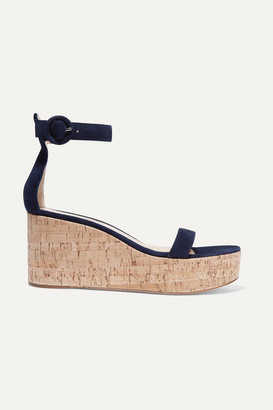 Gianvito Rossi Portofino 45 Suede Wedge Sandals - Navy