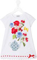MonnaLisa blooming teapot print T-shirt - kids - Cotton/Spandex/Elastane/Crystal - 5 yrs