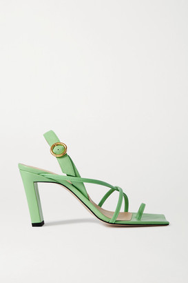 Wandler Elza Leather Slingback Sandals - Bright green