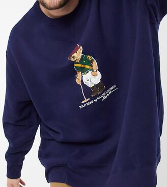Polo Ralph Lauren Big & Tall bear print crewneck sweatshirt in navy