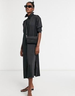 Weekday Parisa satin shirt dress in black