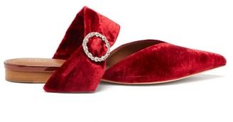 Malone Souliers Maite Crystal-buckle Velvet Mules - Red