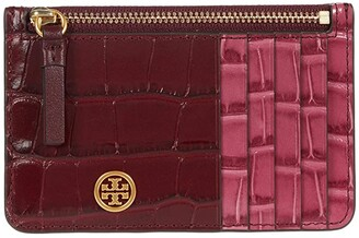 Tory Burch Robinson Embossed Color-Block Top Zip Card Case (Claret/Hummingbird) Wallet