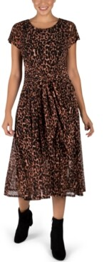 Robbie Bee Printed Tie-Front Midi Dress