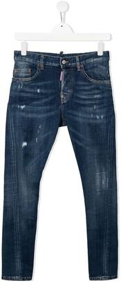 DSQUARED2 TEEN distressed medium-wash jeans