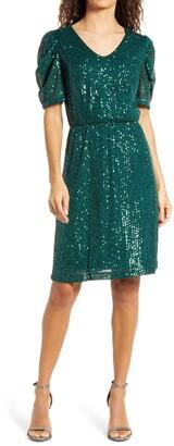 Julia Jordan V-Neck Sequin Fit & Flare Dress