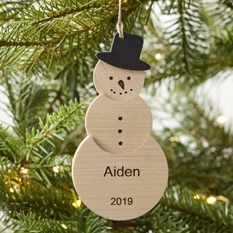 Pottery Barn Teen Snowman Carved Wood Ornament