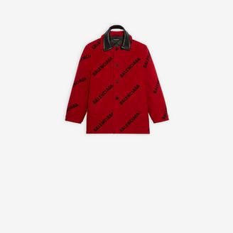 Balenciaga Allover Logo Double Collar Jacket
