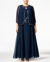J Kara Plus Size Beaded Gown and Jacket