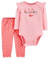 Carter's Child Of Mine By Child of Mine by Baby Girl Long Sleeve Bodysuit and Pant Outfit Set, 2 pc set