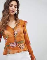 Miss Selfridge Floral Button Front Blouse