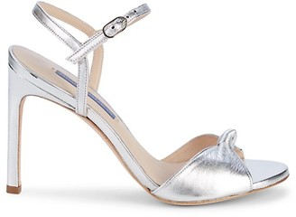 Stuart Weitzman Gloria Metallic Leather Stiletto Sandals