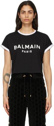 Balmain Black and White Cropped Flocked Logo T-Shirt