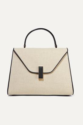Valextra Iside Large Linen And Textured-leather Shoulder Bag - Beige